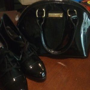 Adrienne Vittadini Studio Patent Leather Handbag